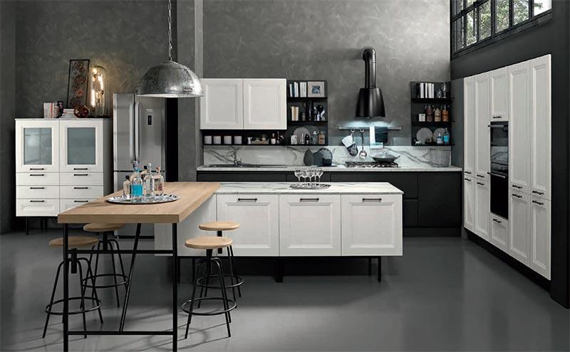 cucina bianca living