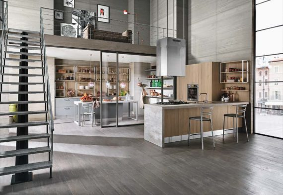 open space cucina soggiorno